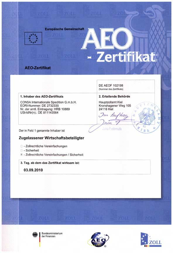 Consa Internationale Spedition: AEO-Zertifikat